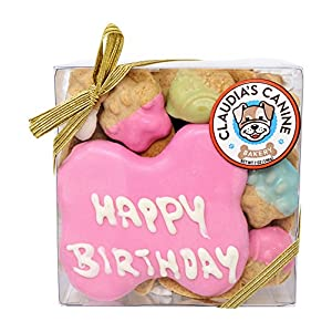 Happy Birthday Assorted Dog Treats in Pink by Claudia's Canine Bakery