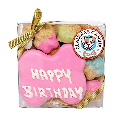 Happy Birthday Assorted Dog Treats in Pink by Claudia's Canine Bakery (Birthday Happy Dog)