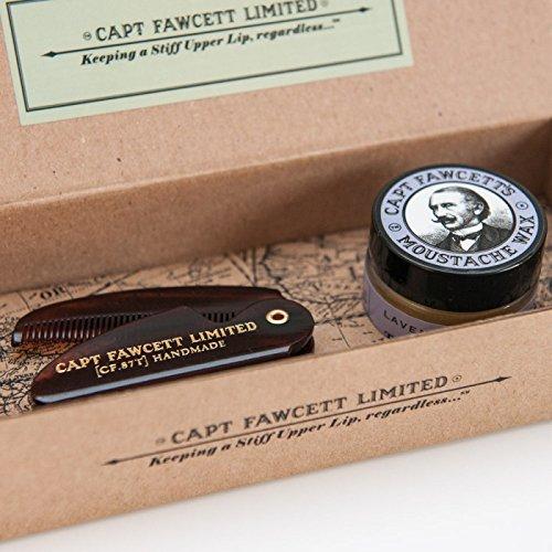 Captain Fawcett's Moustache Wax (Lavender Scent) & Folding Pocket Moustache Comb (CF.87T) Gift Set - Made in England Captain Fawcetts Moustache Wax