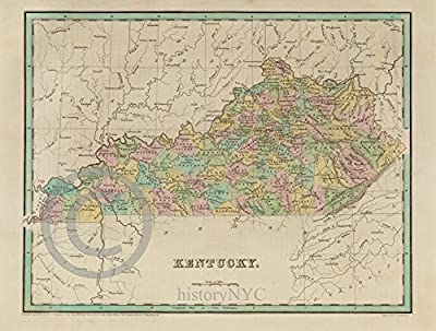 1838 Old Historical Map of Kentucky Counties Art Print - Various Sizes Reprint