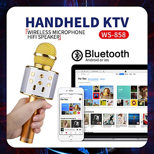 Wireless Bluetooth Microphone for Kids, Gifts for Girl Kids Age 4-11 Year Old Girls Boys Karaoke Microphone for iPhone Android Family Birthday Party Gift Toy Age 4-12 Girl Gold Mic by KIMMI (Image #1)
