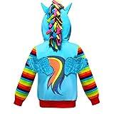 2-10 Years Girls Hoodies Coat Little Pony Rainbow Dash Hoodie (Blue, 5-6 Years)