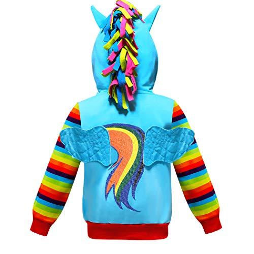 2-10 Years Girls Hoodies Coat Little Pony Rainbow Dash Hoodie (Blue, 7-8 -