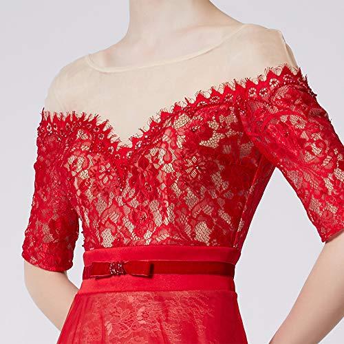 In Vestito Femminile Bingqz Sottile S Elegante Rosso Pizzo Da Sera Pranzo Abito XUTSq