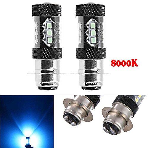 H6M LED Headlight Bulbs 8000K 80W for Yamaha Raptor Banshee Rhino YFZ350 YFZ450 YFM250 YFM350 YFM450 YFM660 YFM700 ()