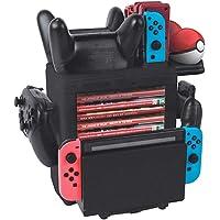 Base de carga para 4 Joy-Cons, 2 controladores Pro y 2 Poke Ball Plus, cargador de estación desmontable multifuncional y almacenamiento para la consola de Nintendo Switch