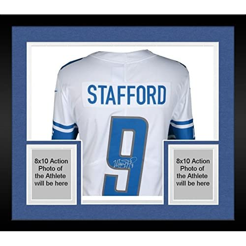 separation shoes 14554 219d3 Framed Matthew Stafford Detroit Lions Autographed White Nike ...