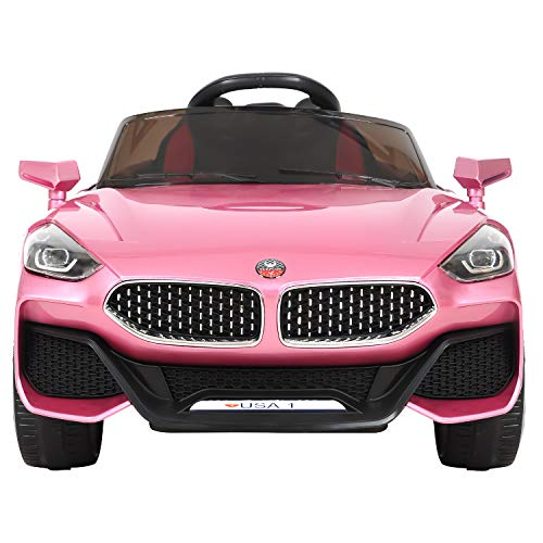 HikeGeek 12V Kids Ride On Car, Electric RC Ride On Toys Battery Powered, Parental Remote Control & Manual Modes, 3 Speeds, LED Lights, MP3, AUX (Pink)