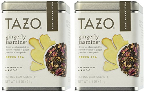 Tazo Gingerly Jasmine Green Tea 1.11 Oz. Tin (Pack of 2) - Full Leaf Tazo Tea