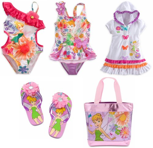 Disney Store Tinkerbell Fairy 5-Piece Swimsuit Swimwear Set Size Medium 7/8 (Tinkerbell Bathing Suit)