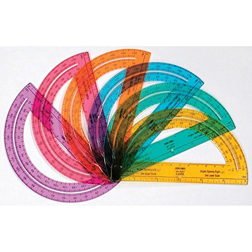 Safe-T Plastic Rainbow Math Protractors, Bulk Set for Classroom Geometry (Pack of 24)