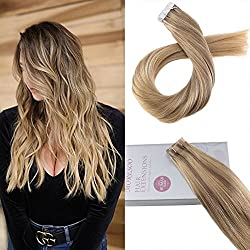 Moresoo 22inch Tape in Balayage Hair Extensions Glue in Human Hair Color #10 Brown Fading to Blonde Highlighted with #16 Real Human Hair Extensions With Adhensive Tape 20pcs 50 Gram