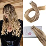 hair extention package - Moresoo 24inch Glue Hair Extensions Human Hair Tape in Ombre Balayage Color #10 Brown Fading to Blonde Highlighted with #16 Remy Tape in Real Hair Extentions 20pcs 50G Per Package