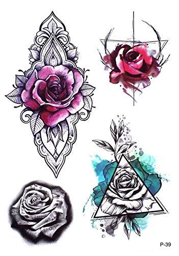 Rosas Mandala Flores tatuaje falso Tattoo P39: Amazon.es: Belleza
