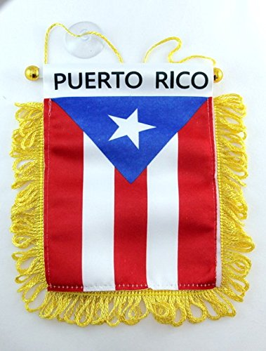 Puerto Rico Flag Window Hanging Banner (Rear String Mount)