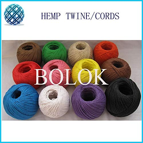 FINCOS 12 Color 100% Hemp Cord (11pcs/lot)100m/ball,Waxed Hemp Rope, Hemp Twine Cord Used in All Kinds Packing by