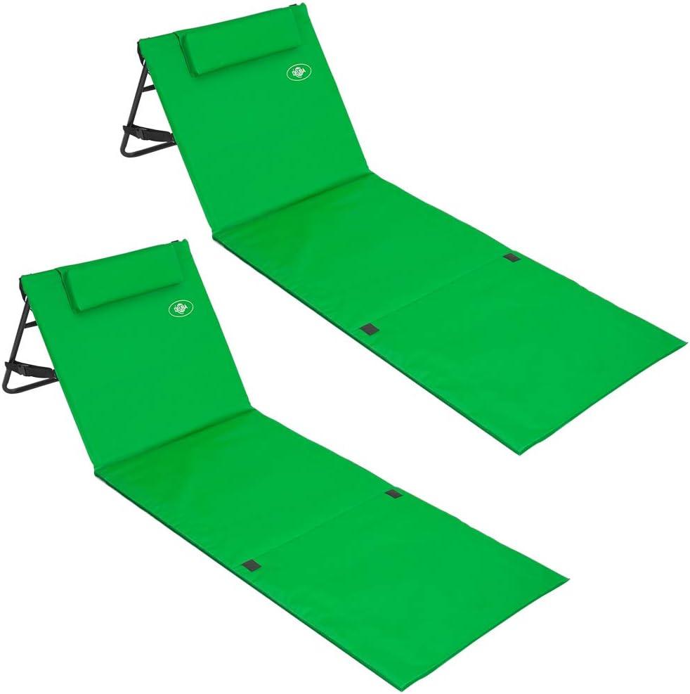 Deuba Materassino da spiaggia 2pz lettino prendisole sdraio mare vano portaoggetti schienale regolabile verde