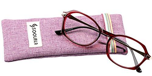 SOOLALA Womens Fashion Designer Diamond Cut Edge Oval Frame Reading Glasses, WineRed, - Presription Sunglasses