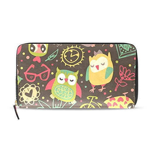 Watercolor Card Holder Women Long Wallet Owl Purse Credit PU Bags Leather Clutch BENNIGIRY 0vgwUqZw