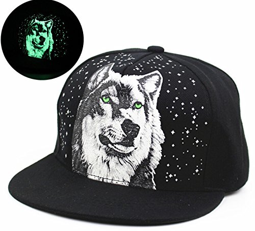 Kobwa(TM) Unisex Canvas Hat Fluorescence Wolf Adjustable Plain Baseball Snapback Caps