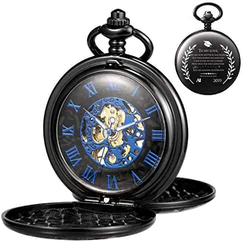 TREEWETO Engraved Mechanical Pocket Watch Graduation Gift Doble Cover Roman Numerals Dial Skeleton Personalized Engraving College High School Present for Son or Daughter