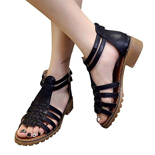 Mujeres Gladiador Plano Sandalias Negro