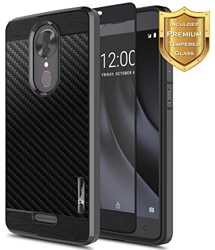 REVVL Plus Case (T-Mobile) with [Full Coverage Tempered Glass Screen Protector], NageBee [Frost Clear] [Carbon Fiber] Slim Soft Protective Cover Case for REVVL Plus 3701A (6 inch) -Black