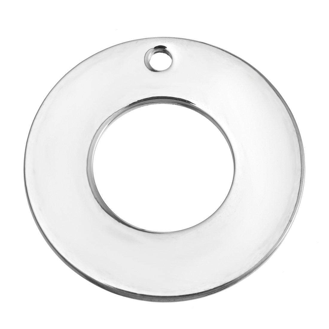 Souarts Lot de 20pcs Pendentifs Breloques Forme Cercle Acier Inoxydable Couleur Argent Mat 2cm