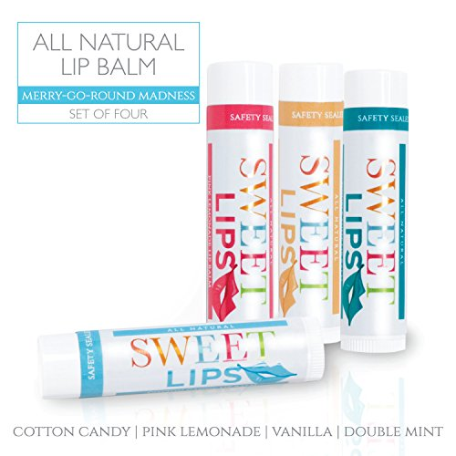 Price comparison product image Sweet Lips All Natural Lip Balm by L'AUTRE PEAU | Cotton Candy, Double Mint, Pink Lemonade & Vanilla Flavors - Special 4 Pack Gift Set | Moisturizer (Natural Beeswax) | The Merry-Go-Round Madness Set