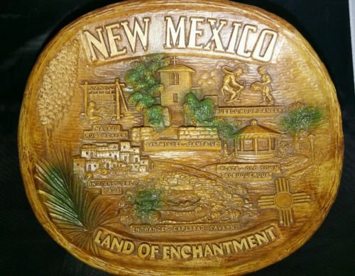 - Retro NEW MEXICO Wall Hanging by TACO, Syroco Burwood Homco Style Dish / Wall Hanging, Retro NEW MEXICO Carlsbad Caverns Souvenir
