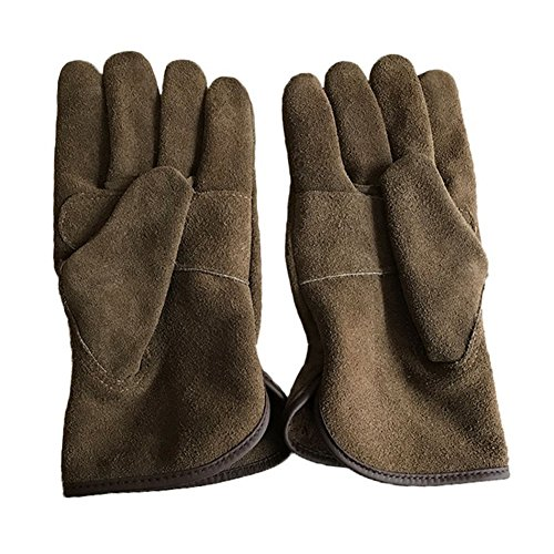 Genuine Leather Men's Welding Gloves Cut-proof Labor Gloves Thicken Extreme Heat Resistant Coffee Color Work Gloves Camping/Gardening Gloves DHST08 (XL) by QEES (Image #4)