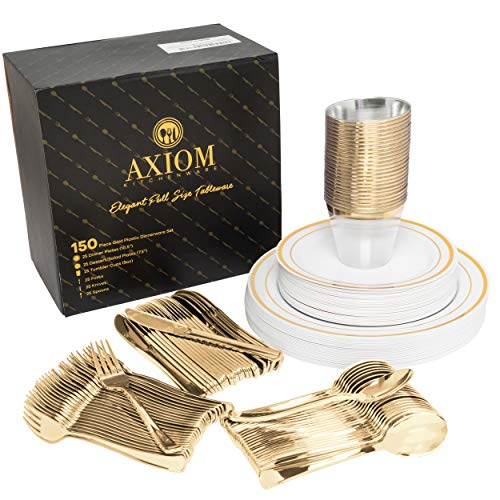- 150 Piece Gold Plastic Dinnerware Set Service For 25 - Disposable Gold Plastic Silverware, Plates, Cups Includes: 25 Dinner Plates, 25 Dessert Plates, 25 Tumblers, 25 Forks, 25 Knives, 25 Spoons