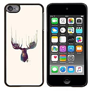 "Be-Star Único Patrón Plástico Duro Fundas Cover Cubre Hard Case Cover Para iPod Touch 6 ( Alces Antlers Acuarelas Amarillo"" )"