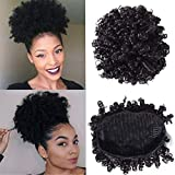 YIROO Afro Curly Human Hair Bun Ponytail Extensions 6 Inches Short Cute Curly Wrap Drawstring Puff Ponytails Hairpieces for Women with Clips Natural Color (6inch)