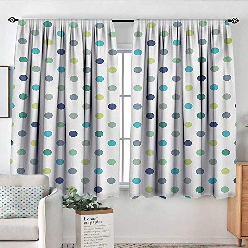 Vintage Jade Green (All of better Polkadot Window Curtain Fabric Polka Dots Retro Classy Vintage Fabric Pattern Design Style Decor Curtains by 63