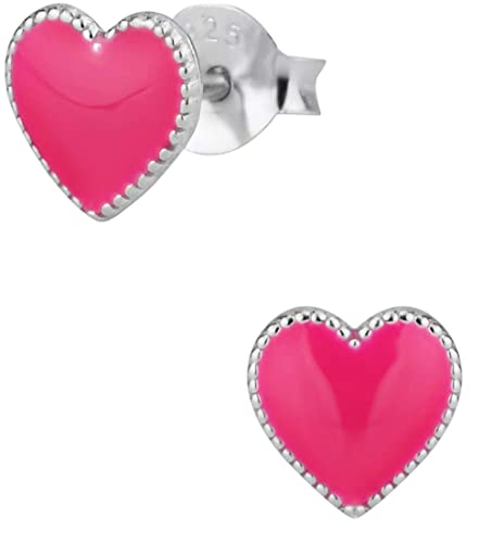Amazon.com  Hypoallergenic Sterling Silver Heart Stud Earrings for Kids 5769d747a978