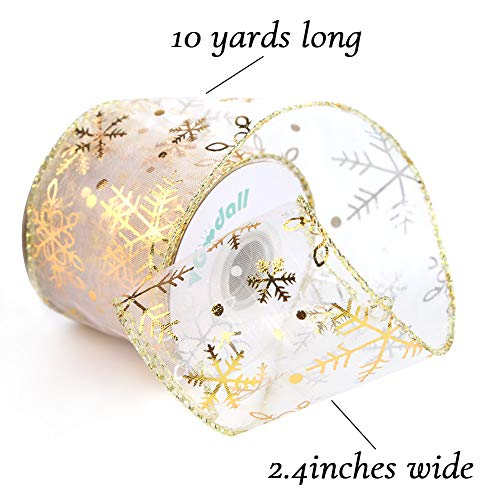10Yard x2.4Inch Christmas Ribbons Double Faced Ribbon Gold and Silver Snowflake Wired Ribbon for Christmas Tree Wedding Home Decoration