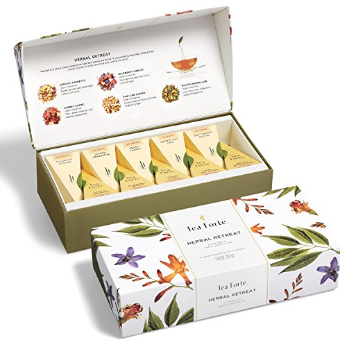 Tea Forté HERBAL RETREAT Petite Presentation Box Tea Sampler, Assorted Variety Tea Box, 10 Handcrafted Pyramid Tea Infusers - Relaxing Herbal (Amaretto Tea Bags)