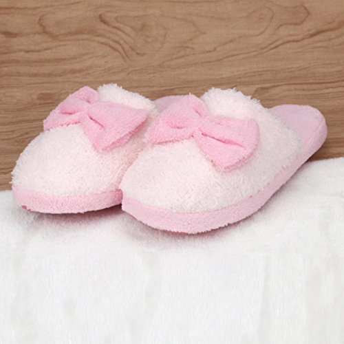 Soft Cotton Antiskid Indoor TM Women AMA Pink Warm Bowknot Home Slippers wPZEREqFn