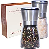 Best Salt and Pepper Grinder Set - Premium Brushed Stainless Steel - Adjustable Coarseness - Kitchen To Table Use - Easy to Refill - Elegant Spice Mill Pair - Modern Design Shakers