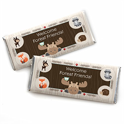 Woodland Creatures - Candy Bar Wrappers Baby Shower or Birthday Party Favors - Set of 24 (Dots Candy Bar Wrappers)