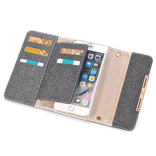 EKINHUI Case Cover IPhone 7 Plus Fall-Abdeckung, Multifunktions-Schein-Rhinestone-Kasten-Blitz-Muster PU-lederner Fall-Ketten-Schultaschen-Beutel-Mappen-Kasten mit Karten-Schlitzen für Apple IPhone 7