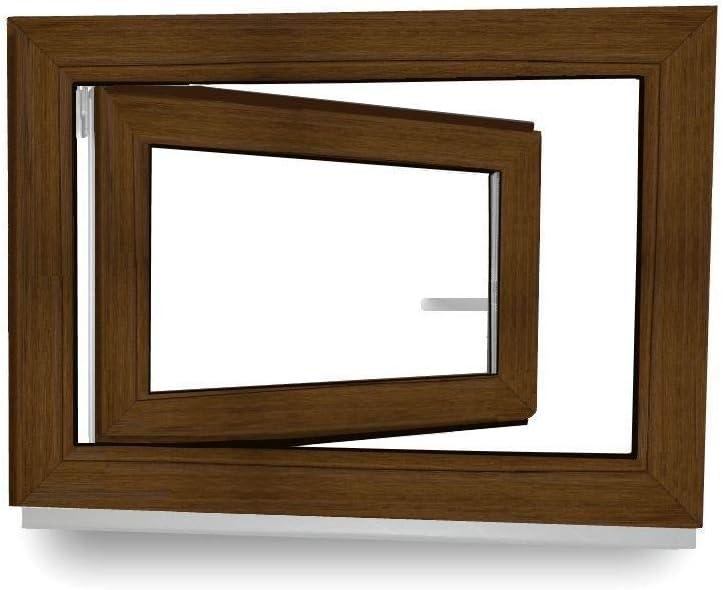 70 mm Rahmenprofil 2-Fach Verglasung innen wei/ß BxH: 800x500 mm DIN Rechts au/ßen nussbaum Kunststofffenster