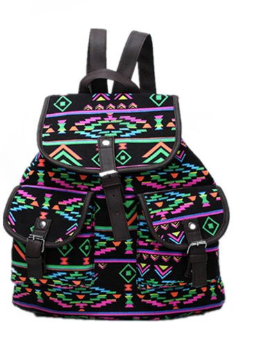 Generic New Vintage Floral Ladies Canvas Bag/School Bag/Backpack (Black)