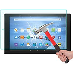 Kingsource Fire HD 10 Screen Protector Amazon Kindle Fire HD 10 inch Tablet (5th Generation - 2015 Release) Tempered Glass Screen Protector Film [2.5D Round Edge] [9H Hardness] [0.33MM Thin]