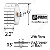 Zebra Technologies 10010065 8000D Jewelry Polypropylene Label, Direct Thermal, Butterfly Label with Flaps, Not Perforated, 2.2 x 0.5, 1 Core, 5 OD  (Roll of 3510, Case of 6 Rolls) (Pack of 6)