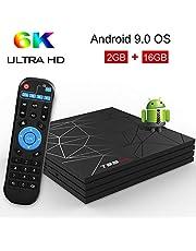 Android 9.0 TV BOX, T95 MAX Smart BOX 2GB RAM 16GB ROM Allwinner H6 Quad-Core Cortex-A53 CPU Mali-T720MP2 GPU 6K 4K H.265 Risoluzione 100M LAN Enternet 2.4 GHz WiFi USB 3.0 Video Player