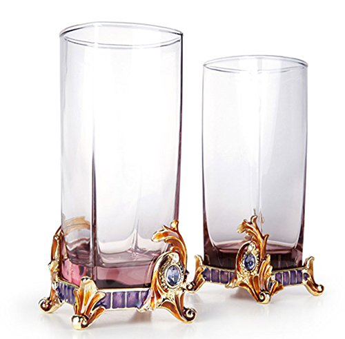 Tall Drinking Glasses Square Tumblers 8.5 oz, Enameled Bohemia Crystal, Gold PLated Ornament with Swarovski Crystals Jewels, Robbie Rodin Design, Set of - Enameled Crystal