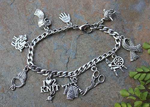 sweater needles yarn Love to Knit Stainless Steel /& Pewter Charm Bracelet