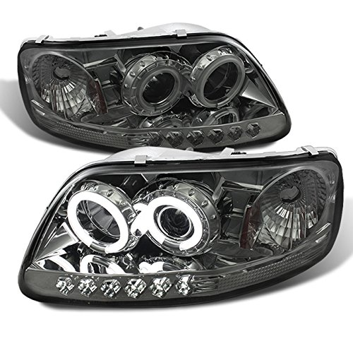 For Ford F150 Expedition Pickup Smoked Smoke CCFL Halo LED 1 Piece Projector Replacement Headlights Pair